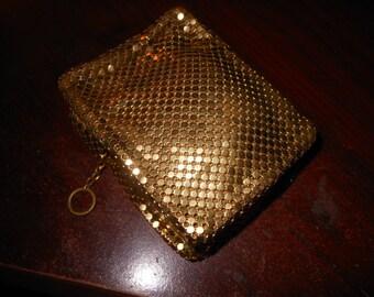 Vintage Whiting Davis Metal Mesh Cigarette Case in Gold