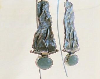 Aquamarine Earrings, Fused Patina, Aquamarine Hinged, Long Dangle Earrings, Textured Sterling, Recycled Sterling, Blue Aquamarine, Birthday