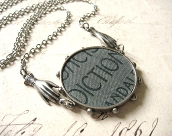 Concise Dictionary - Vintage Inspired Antiqued Silver and Book Cover Handmade Necklace - Gift Box