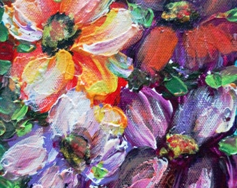 Oil Painting Flowers Original Art on Canvas Palette Impasto Artwork by Luiza Vizoli