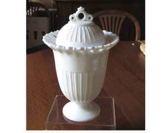 Fostoria White Milk Glass Randolph Covered Urn or Candy Jar or Preserve