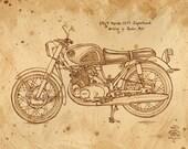 coffee art, 1964 Honda Superhawk Motorcycle, painted using only coffee, espresso, coffee painting, motorcycle