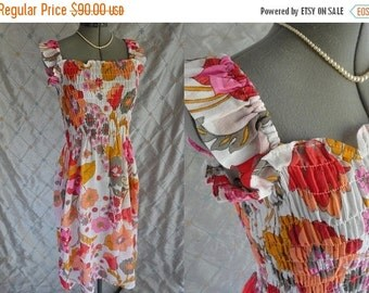 ON SALE 60s 70s Dress // Vintage 60's 70's Light Cotton Gauze Floral Summer Dress by Miss Youthcraft NZ Size S M nightgown