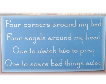 Four corners around my bed four angels around my head... primitive wood sign
