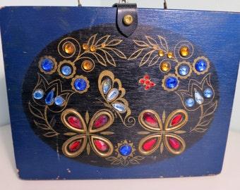 1960s Jeweled Box Purse - Dark Blue