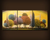 original abstract art painting yellow red orange green surreal fantasy triptych lollipop tree painting yellow gold red cloud sunset 66 x 28