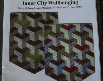 "2 1/2"" Strippity Do-Dahs Inner City Wallhanging Pattern from Marti Michell"