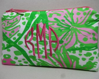 Lilly Pulitzer Make Up Bag/Clutch/Pencil Case  (Pop Pink in the Garden) w/ or w/out Monogram/Holiday Gift Giving / Preppy/Sorority