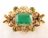 Antique Green Austrian Crystal Gold Tone Leaves Costume Brooch
