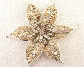 Vintage Pell Silvertone Busy Rhinestone Three Dimensional Flower Brooch