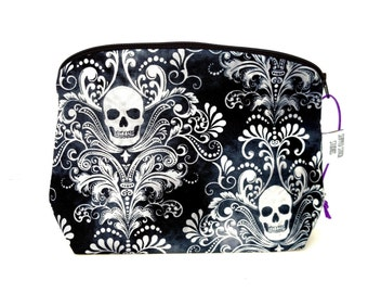 Zippered NOTIONS BAG with zipper pull -  Charcoal Skulls
