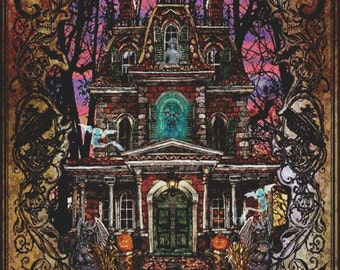 Cross Stitch Pattern, EMAILED PDF,  'Fright Night by Lewis T.Johnson' Counted Cross Stitch, Haunted House, Ghosts, Halloween Cross Stitch