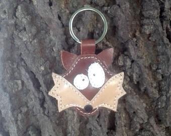 Cute little brown fox leather animal keychain - FREE shipping - Handmade Leather Fox Bag Charm