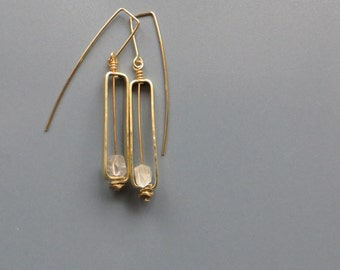 brass frame with clear quartz points earrings