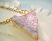 February Birthstone Amethyst Druzy Triangle Gold Plate on Golden Brass Figaro Beveled Chain