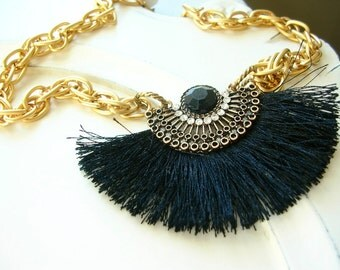 Black Silk and Rhinestone Statement Necklace on Gold Plated Brass Chain, 16 1/2""