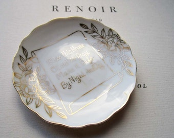 Small Bless This Home Plate * Tiny Dish * Petite Biblical * Scrolling and Gold Flowers * Trinket Dish  * Wabi Sabi Style * Love * Warmth *