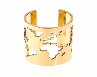14k Gold World Map Ring