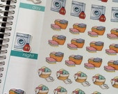 Huge Sale Planner Stickers Laundry Baskets Washing Machine Day Planner Chore Stickers Cleaning Stickers Plum Paper