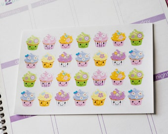 28 Kawaii Cupcake Stickers, Planner Stickers, Fits Erin Condren Planner, Birthday Stickers, Stickers