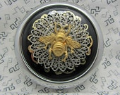 Compact Mirror Brass Bee Steampunk Comes With Protective Pouch