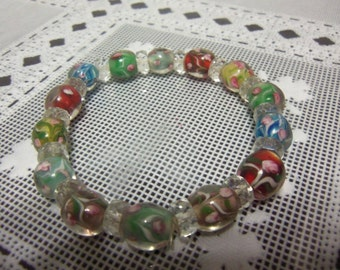 "8"" Floral Pattern Lampwork & Glass Rondelle Beaded Stretch Bracelet"