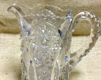 Antique Deep Press Glass Pitcher Cathedral Windows #A446B