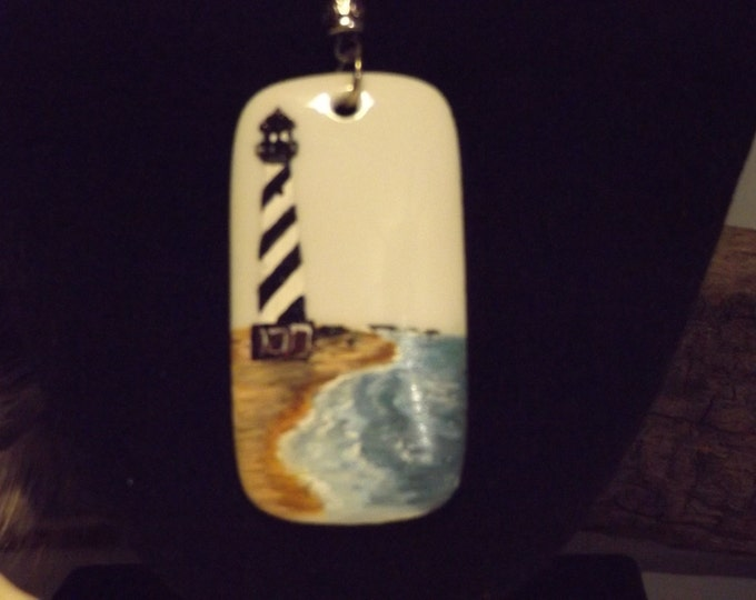 Hand Painted Pendant, Light House Jewelry, Jewelry Gift, Gift For Her, Gift For Mom, Original Art, Beach Jewelry, Cape Hatteras Lighthouse