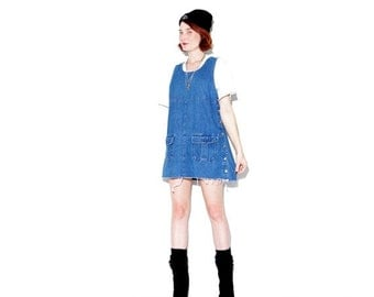 OMG HALF OFF 90s Denim Overall Dress small medium // cute denim overalls jumper dress jean dress denim dress 90s dress 90s grunge ripped jea