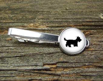 Dog Scottie Tie Clip-Silver-Gold-Jewelry Box-Gift Box-Wedding-Keepsake-Man Gift-Groom-Groomsmen--Cute Dog-Scottish Terrier-Westie-White