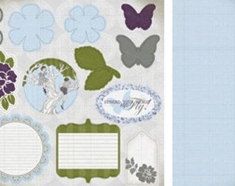 Marks Paper Company 12x12 sheet of die-cut embellishments and journaling tags