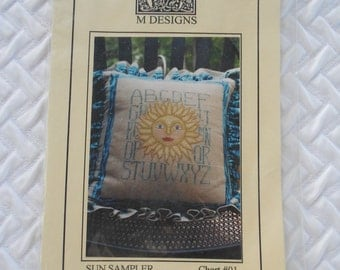 DESTASH, M Designs Counted Cross Stitch Pattern, Sun Sampler - Chart #01, ABC Sampler,