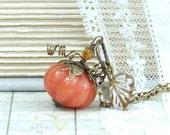 Orange Pumpkin Necklace Autumn Jewelry Fall Necklace Pumpkin Jewelry Halloween Pumpkin Pendant Necklace