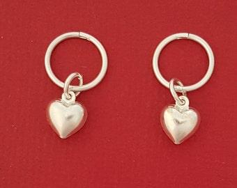 Heart Sleepers, Sterling silver sleeper Heart Dangle Earrings