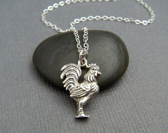 silver rooster necklace. small sterling silver pet pride pendant. spirit animal. strength love realistic farm charm gift simple jewelry 5/8""