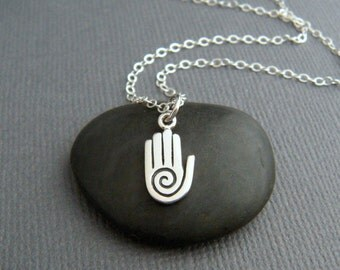 """tiny hamsa hand with spiral necklace. small etched sterling silver zen yoga yogi pendant protection faith symbol jewelry khamsa charm 1/2"""""""