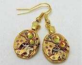 Steampunk ear gear - watch movement - Gold - Steampunk Earrings - Repurposed art