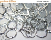 40 OFF Silver Plated  French Lever Back Earring Hooks - 10 pcs