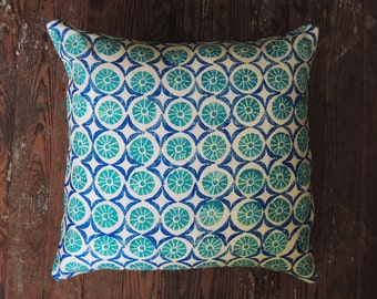 floral geometric hand block printed turquoise, ultramarine blue on white linen colorful decorative pillow cover your choice of sizes