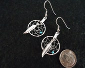 Native American Made Small Silver  Dream Catcher Earrings with Turquoise Stone