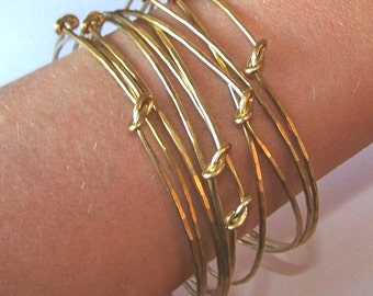 Stackable Brass Bangles - 10 Knotted Brass Bangle Bracelets - Custom Knotted Hammered Bangles - Set of 10 - Made to Order
