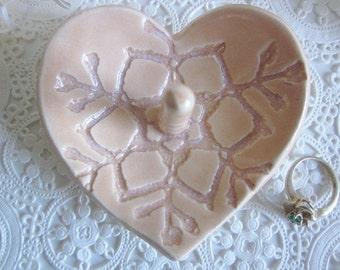 Ceramic Heart jewelry bowl done in  peach heart dish
