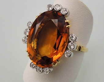 Luscious Orange Citrine Set in 14k Yellow Gold with Diamond Accents set in Platinum, Circa 1960 (A1707)