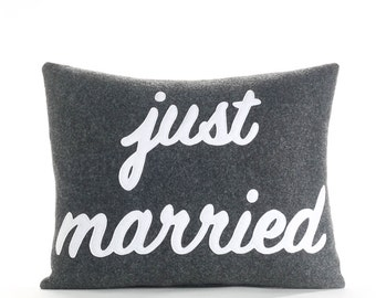 "Just Married 14""x18"" Throw Pillow"