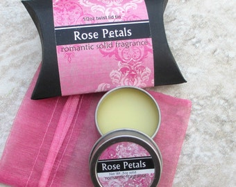 Rose Petals Solid Perfume, Natural perfume, purse friendly screw top tin