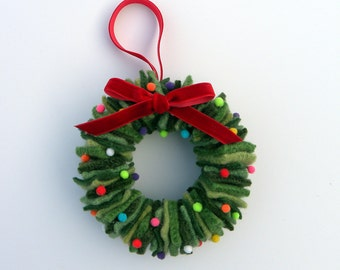 Rescued Wool Wreath Ornament - Mixed Greens with Pom Poms
