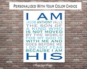 I Am His Son Of A King, Christian Wall Art, Nursery Wall Art, Children's Room Decor, DOWNLOAD Printable Art, Christening Gift, Baptism Gift