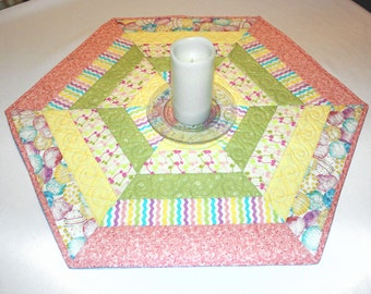 Easter Hexagon Quilted Table Topper, Easter Candle Mat, Table Runner Quilt, Pink, Yellow, Green Hexagon Easter Decor, Pastel Candle Mat