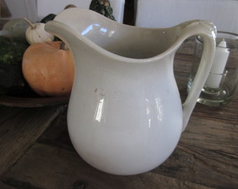 Vintage white ironstone water pitcher.