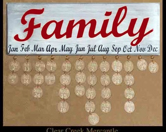 Ant. White Family Birthday Sign/Red and Black Lettering